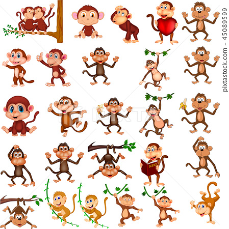 Cartoon happy monkey collection with different act 45089599