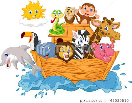 Cartoon Noah's ark isolated on white background 45089610