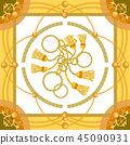 設計 金色 花紋 45090931