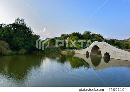 美麗的鄉村水塘在台灣寶山鄉寶山鄉油田村雞油凸的農塘步道 45091194
