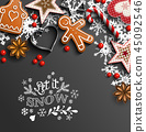 Christmas background with cookies and ornaments 45092546
