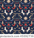 Watercolor vector pattern medieval illustrations 45092736