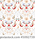 Watercolor vector pattern medieval illustrations 45092739