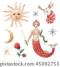 Watercolor vector set with medieval illustrations 45092753