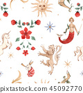 Watercolor vector pattern medieval illustrations 45092770