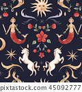 Watercolor vector pattern medieval illustrations 45092777