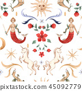 Watercolor vector pattern medieval illustrations 45092779