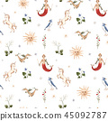 Watercolor vector pattern medieval illustrations 45092787