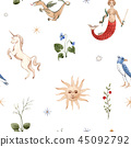 Watercolor vector pattern medieval illustrations 45092792