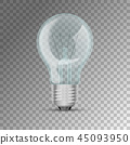 Realistic lit light bulb 45093950
