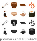 Soy sauce, noodles, kettle.rolls.Sushi set collection icons in black,cartoon style vector symbol 45094420