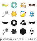 A game of badminton, a ball and the sun.Summer vacation set collection icons in black,cartoon style 45094435