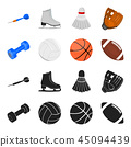 Blue dumbbell, white soccer ball, basketball, rugby ball. Sport set collection icons in black 45094439