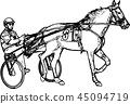 Trotter in harness drawing 45094719