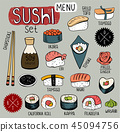 Sushi doodles collection 45094756