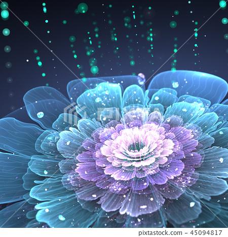 violet fractal flower with droplets of water 45094817