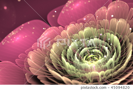 pink and green fractal flower 45094820