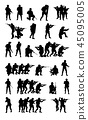 SWAT team set collection vector black silhouette 45095005