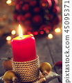 Advent candle, Christmas concept background 45095371