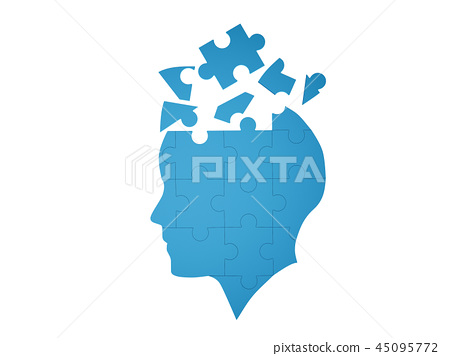 Blue jigsaw puzzle as a human brain on white background in medic 45095772
