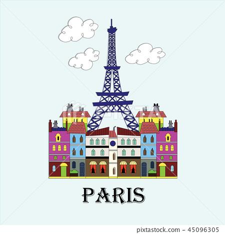 Eiffel tower material vector 45096305