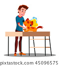 Teen Guy Washes The Dog Vector. Isolated Illustration 45096575