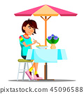 Teen Girl Eating Chinese Noodles Vector. Isolated Illustration 45096588