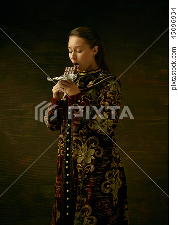 Girl standing in Russian traditional costume. 45096934