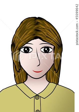 女孩 看前面 微笑 45099642