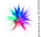 Colored powder explosion on white background 45100345