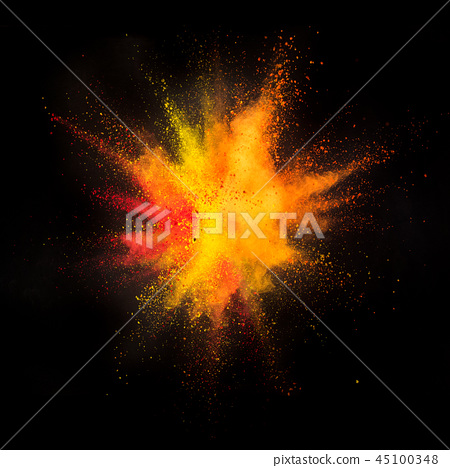 Colored powder explosion on black background 45100348