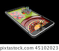 Online Internet casino app, roulette with chips on the phone, gambling casino games. 3d illustration 45102023