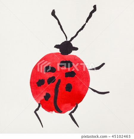 ladybug drawn by red and black watercolors 45102463
