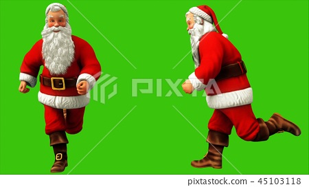 Santa claus is fast running around on green screen during Christmas. 3D Rendering 45103118