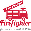 Firefighter word with fire engine 45103710