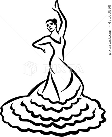 Flamenco dancer - caligraphy style 45103999
