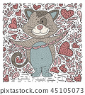 Doodle hand drawn cat with sausages. 45105073
