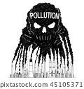 factory, pollution, skull 45105371