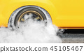 Drag racing car burn tire at start line 45105467