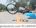 Accident motorcycle crash with bicycle on road 45106040