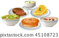 Set of food on plate 45108723
