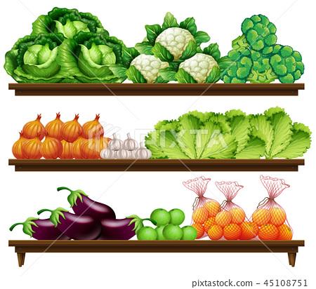 Group of vegetables on shelf 45108751