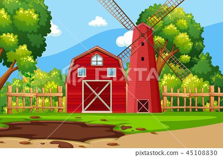 Farm scene with red barn 45108830