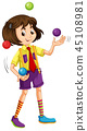 A girl juggling ball 45108981