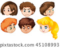 Group of human heads 45108993