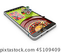 3d illustration of online Internet casino app, roulette with chips on the phone, isolated white 45109409