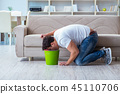 Sick man suffering at home from infection and bad stomach 45110706