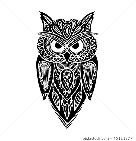Ornate owl, zenart for your design 45111277
