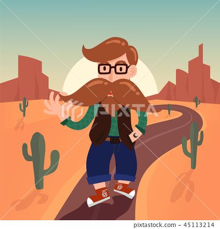 Cute gentleman hipster cartoon charactor  45113214