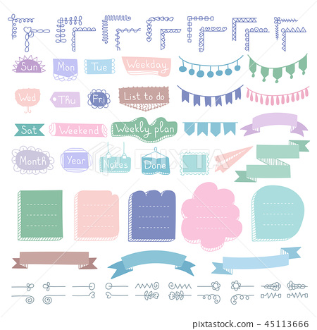 Bullet journal hand drawn vector elements  45113666